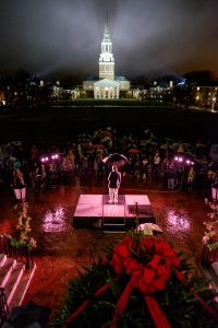 Wake Forest students celebrate the holidays with the Lighting of the Quad ceremony on Hearn Plaza on Tuesday, December 1, 2015. Chaplain Tim Auman talks about the diverse religious celebrations in the month of December.