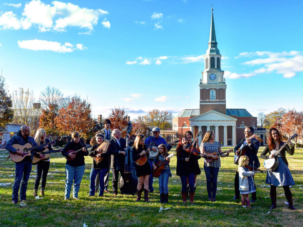 Unbroken Circle string band in front of Wait Chapel