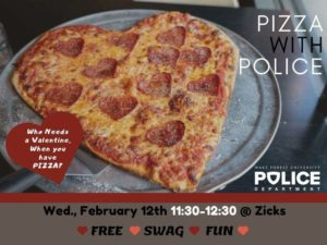 Feb. 12, 2020 Pizza with the Police flyer