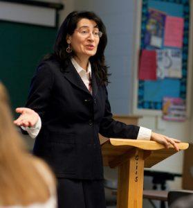 Professor Wanda Balzano teaches her British literature class