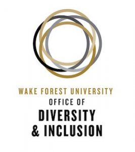 """Text says """"Wake Forest University Office of Diversity & Inclusion"""" with interlocking circle logo above"""