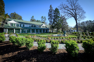 Reynolda House Museum of Art from the front, landscaped lawn