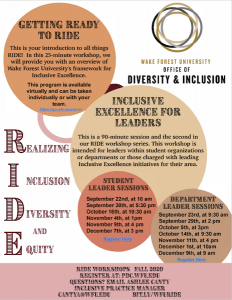Flyer for the Realizing Inclusion, Diversity and Equity fall workshops