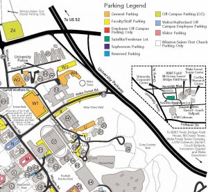 Campus parking map showing parking lots X and W1