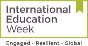 Logo for International Education Week. Tagline says Engaged, Resilient, Global