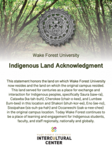 Flyer with the Indigenous Land Acknowledgement