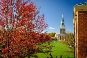 Hearn Plaza and Wait Chapel framed by fall leaves