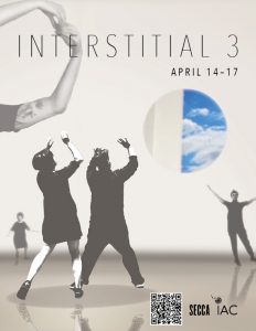 "Informational flyer for ""Interstital 3"" exhibition at SECCA on April 14-17"