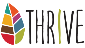 "Office of Wellbeing logo: A leaf with eight colors representing eight dimensions of wellbeing, beside the word ""Thrive"""