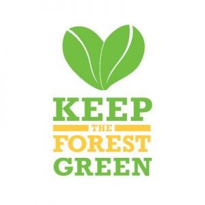 """WFU Office of Sustainability logo: two green leaves with green and yellow text that says """"Keep the Forest Green"""""""