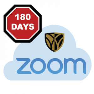 """A cloud with the Wake Forest University shield logo and the word """"Zoom"""" beside a stop sign that says """"180 days"""""""