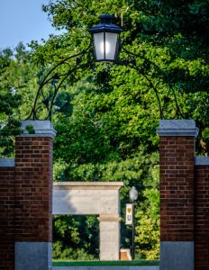 Stone arch marking the entrance to Hearn Plaza on the campus of Wake Forest University