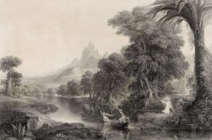 """Detail showing the engraving """"Voyage of Life: Youth"""" (1854-55) by James Smillie after Thomas Cole"""