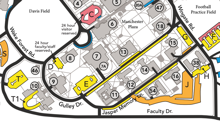 Close-up screenshot of the Wake Forest University campus parking map, showing the location of Gulley Drive and parking lots E and G at either end of the road
