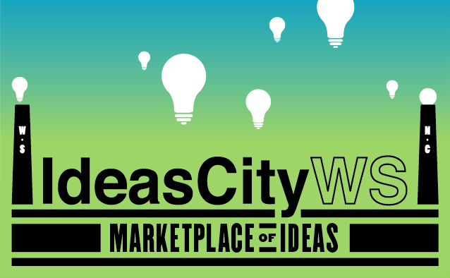 Informational flyer for IdeasCityWS: Marketplace of Ideas event, which will be held in downtown Winston-Salem on Saturday, Oct. 2, 2021