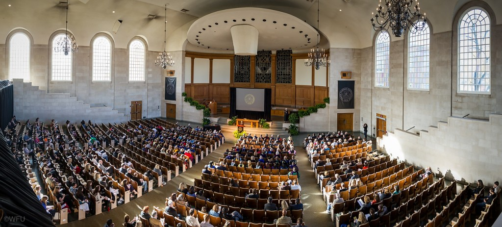 Wait Chapel is the largest non-athletic indoor setting on the Reynolda Campus with a seating capacity of 2250.