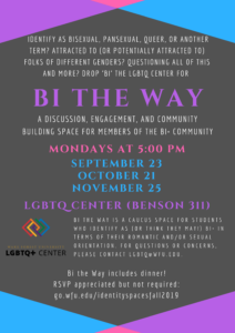 Flyer with Bi the Way Fall 2019 dates, more info below image
