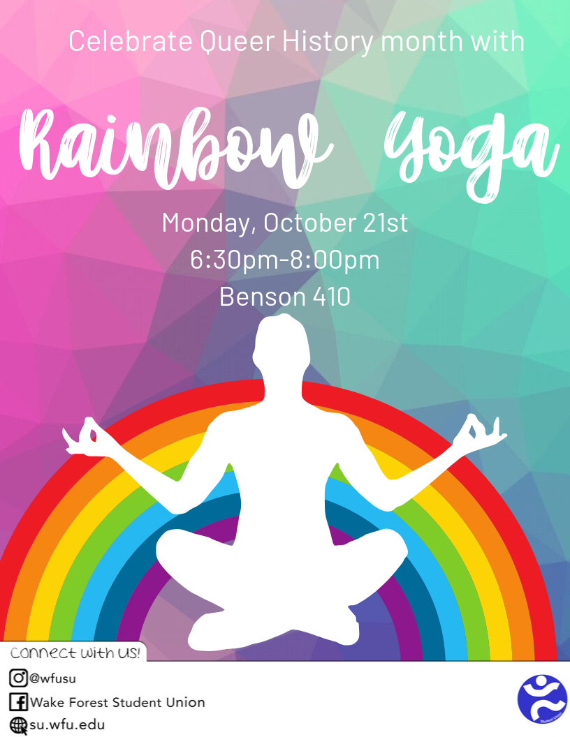 Flyer for Rainbow Yoga held October 2019 hosted by Student Union