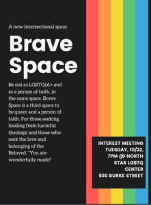 Flyer advertising Brave Space, more info below