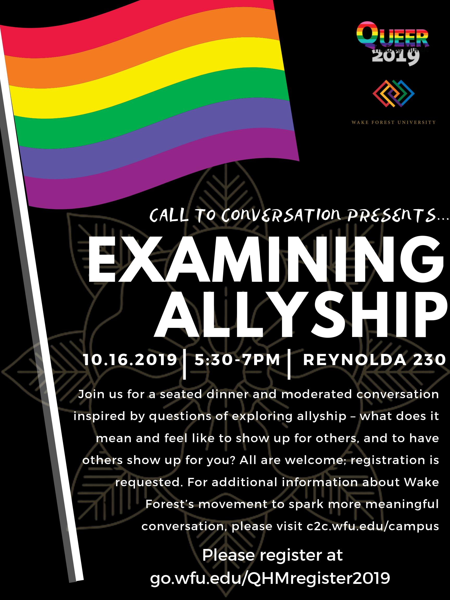 Flyer for Examining Allyship Call to Conversation held October 2019