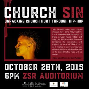 Flyer for Church Sin held October 2019, more info below image