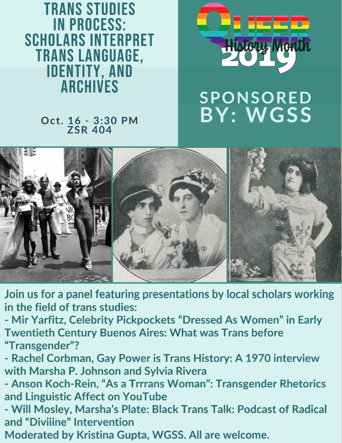 Flyer for Trans Studies Panel held October 2019 as part of Queer History Month