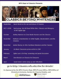 Flyer for Classics Beyond Whiteness fall 2019, more info below