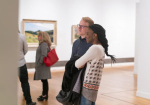 Two students browsing at the SECCA Art Museum