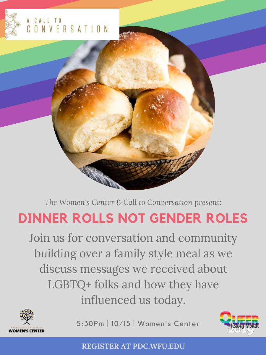Flyer for Dinner Rolls not Gender Roles Call to Conversation held October 2019