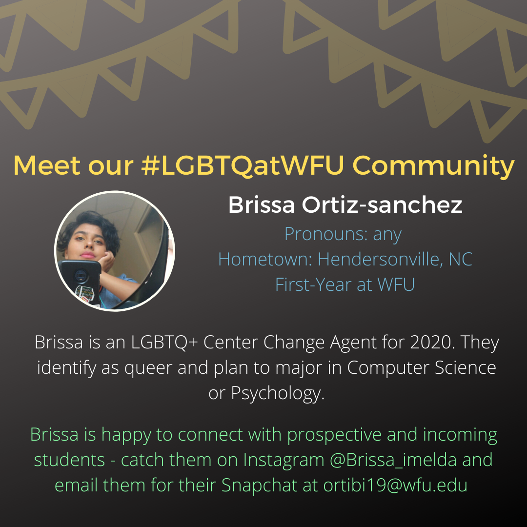 Brissa is an LGBTQ+ Center Change Agent for 2020. They identify as queer and plan to major in Computer Science or Psychology.