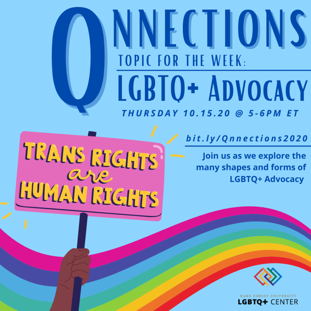 Flyer describing Qnnections (info below) with a rainbow and sign saying Trans Rights are Human Rights