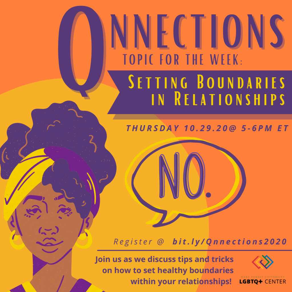 Flyer for Qnecctions event with a person of color saying no, event described below