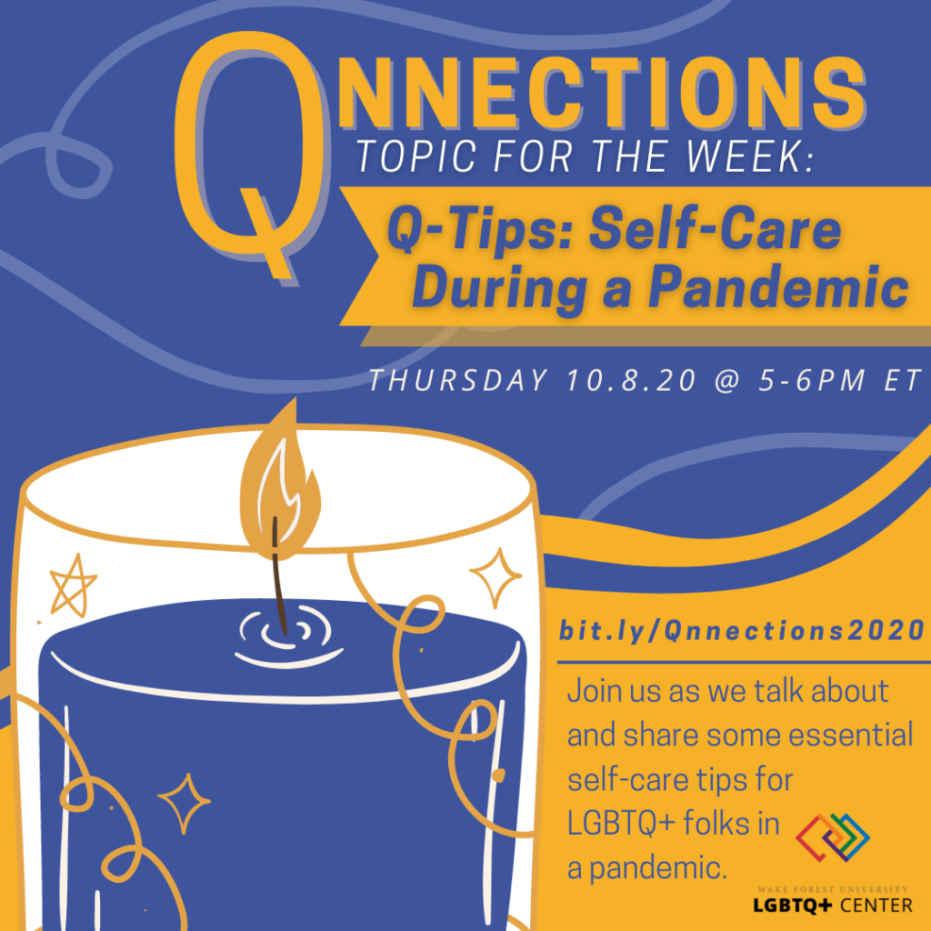 Flyer describing Qnnections (info below) with an image of a lit candle