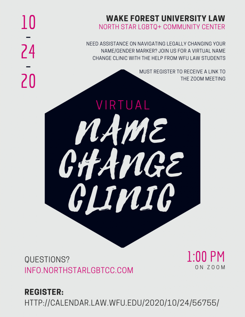 Flyer for Name Change event, information in text below