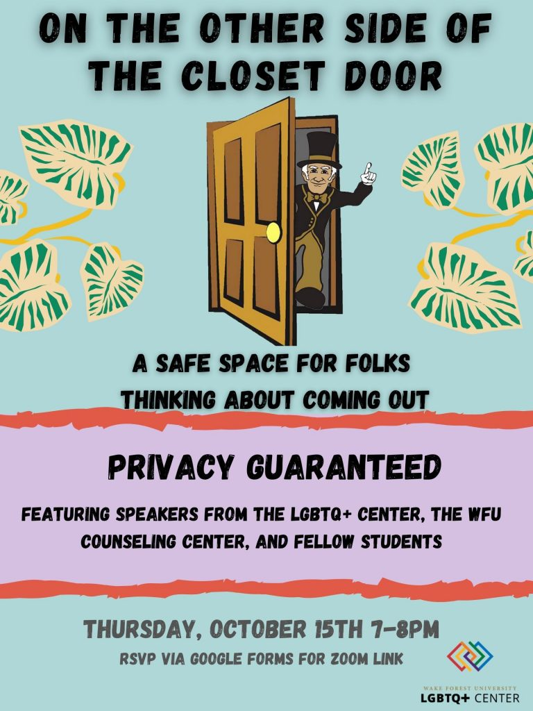 Flyer describing On the Other Side of the Closet Door event (info below) with a Deacon mascot coming out of a door