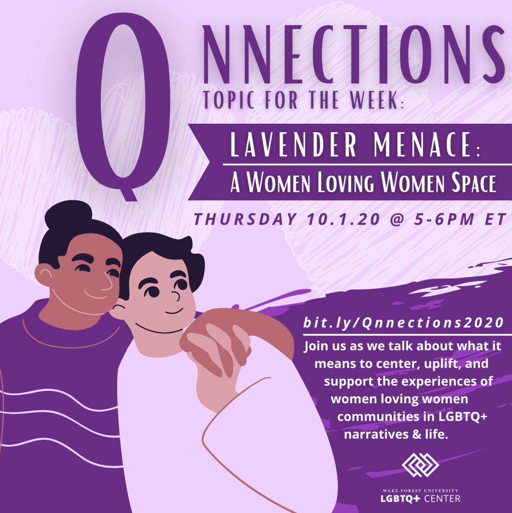 Flyer for Lavender Menace Qnnections event described below, with two people holding hands