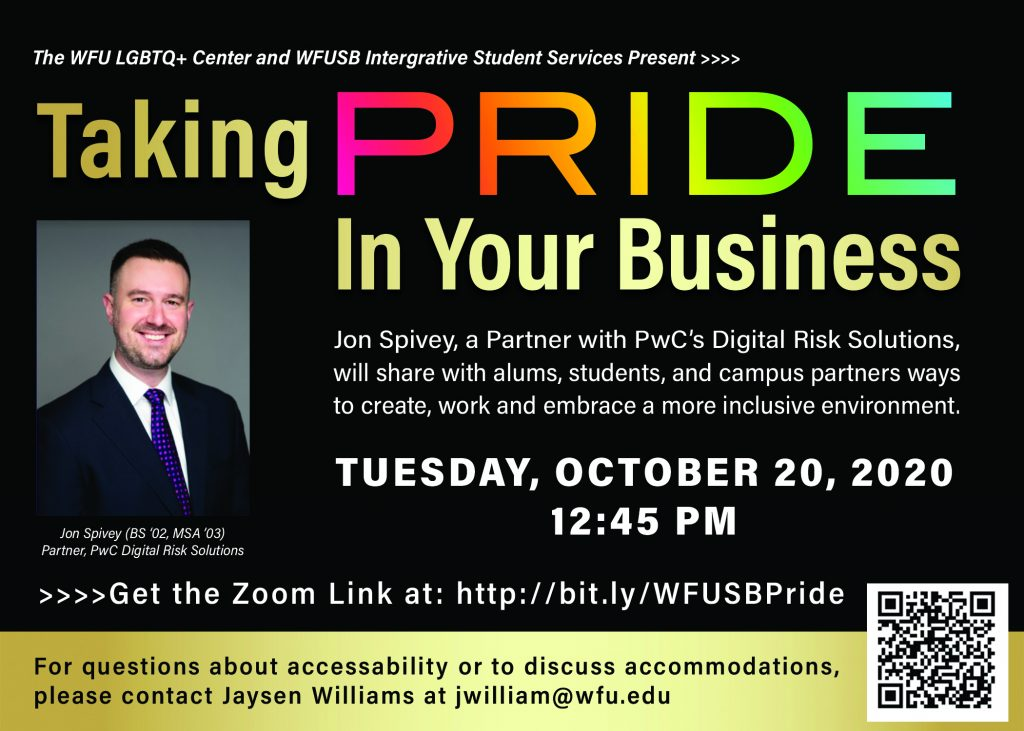 Flyer for Taking PRIDE in your Business event described in text below
