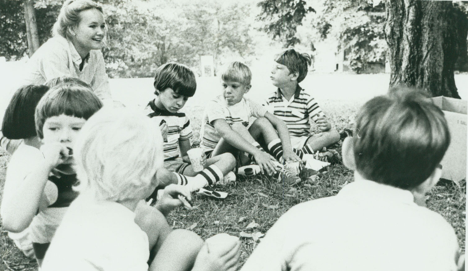 black and white image of children