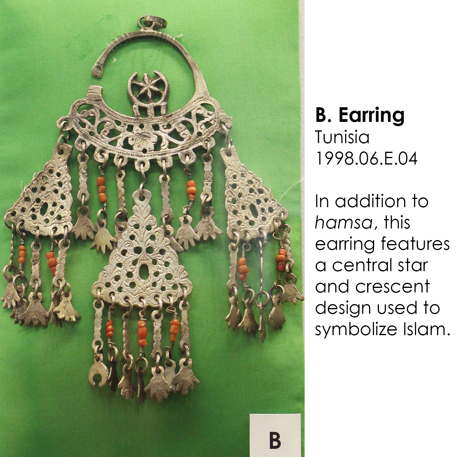 Tunisian Earring with hamsa and Islamic crescent and star