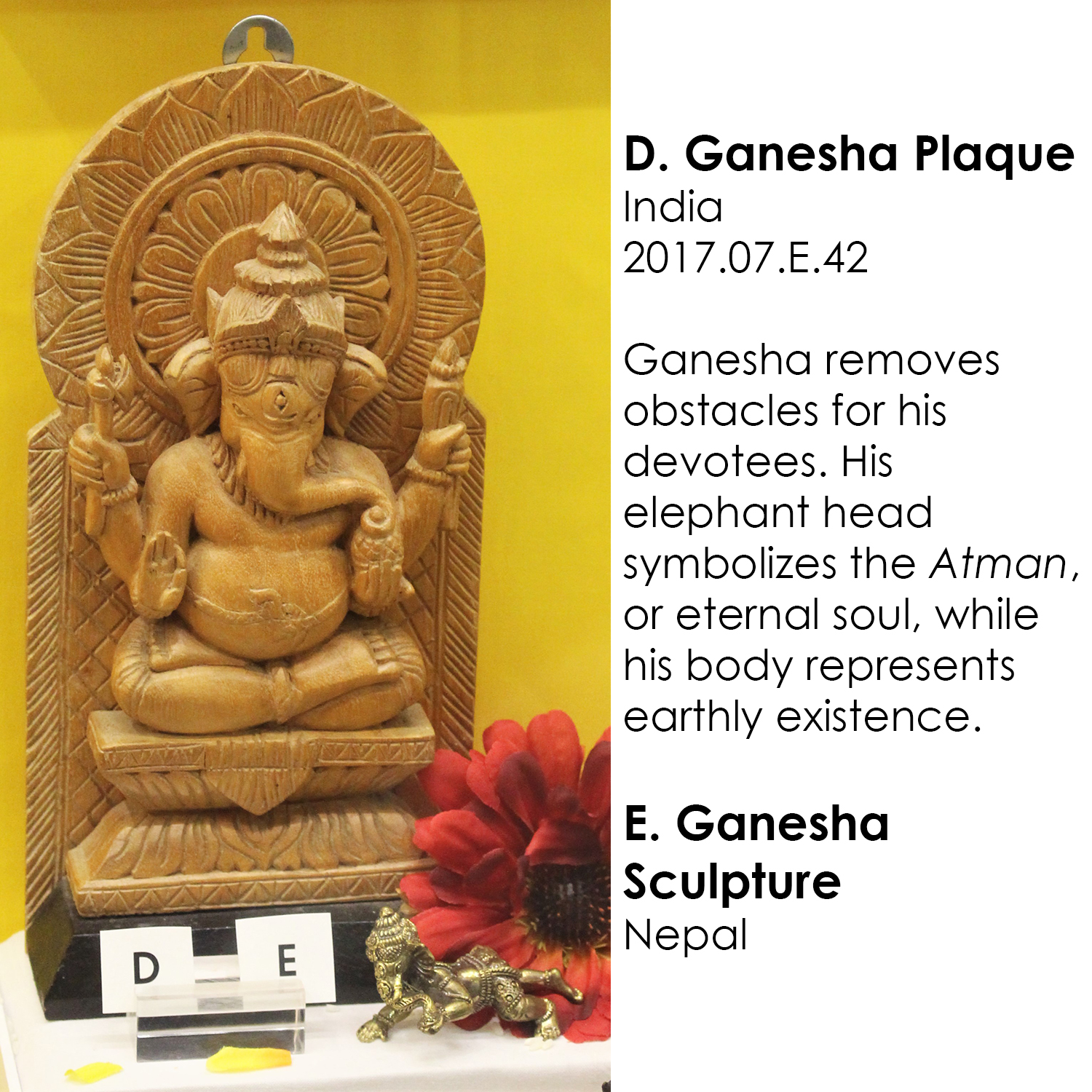 Ganesha plaque and sculpture from India