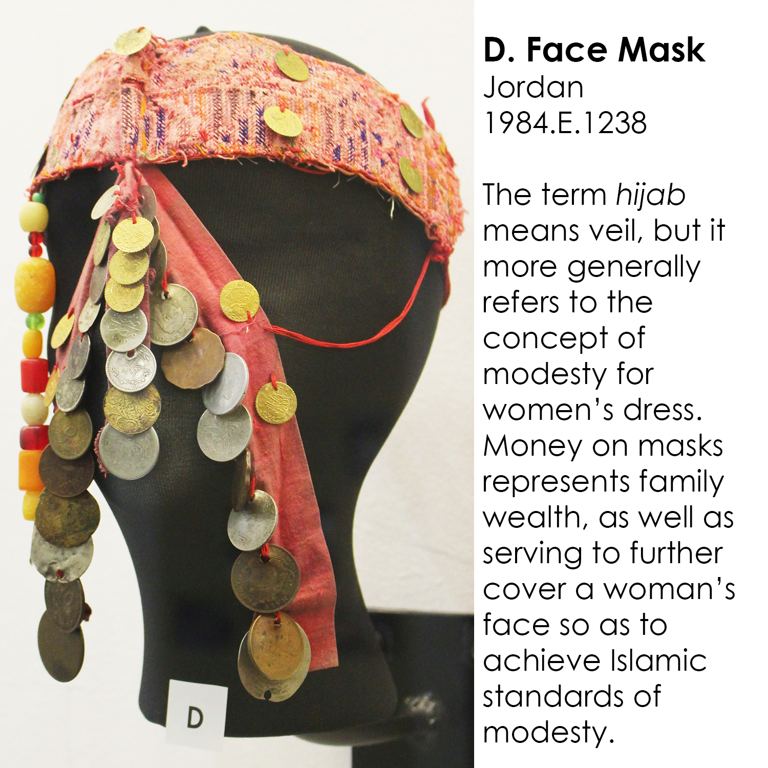 Islamic face mask from Jordan with coins