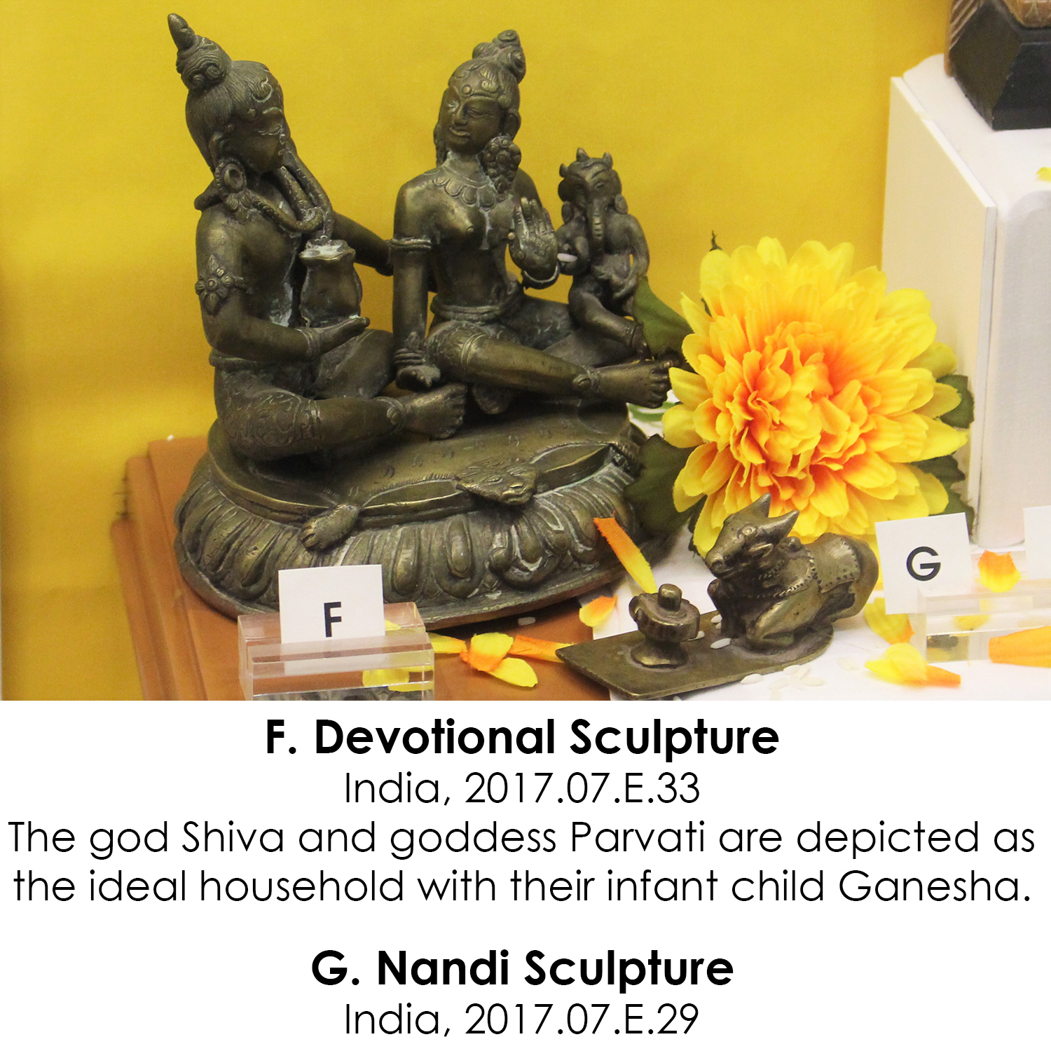 Devotional sculpture of Shiva and Parvati and Nandi sculpture from India