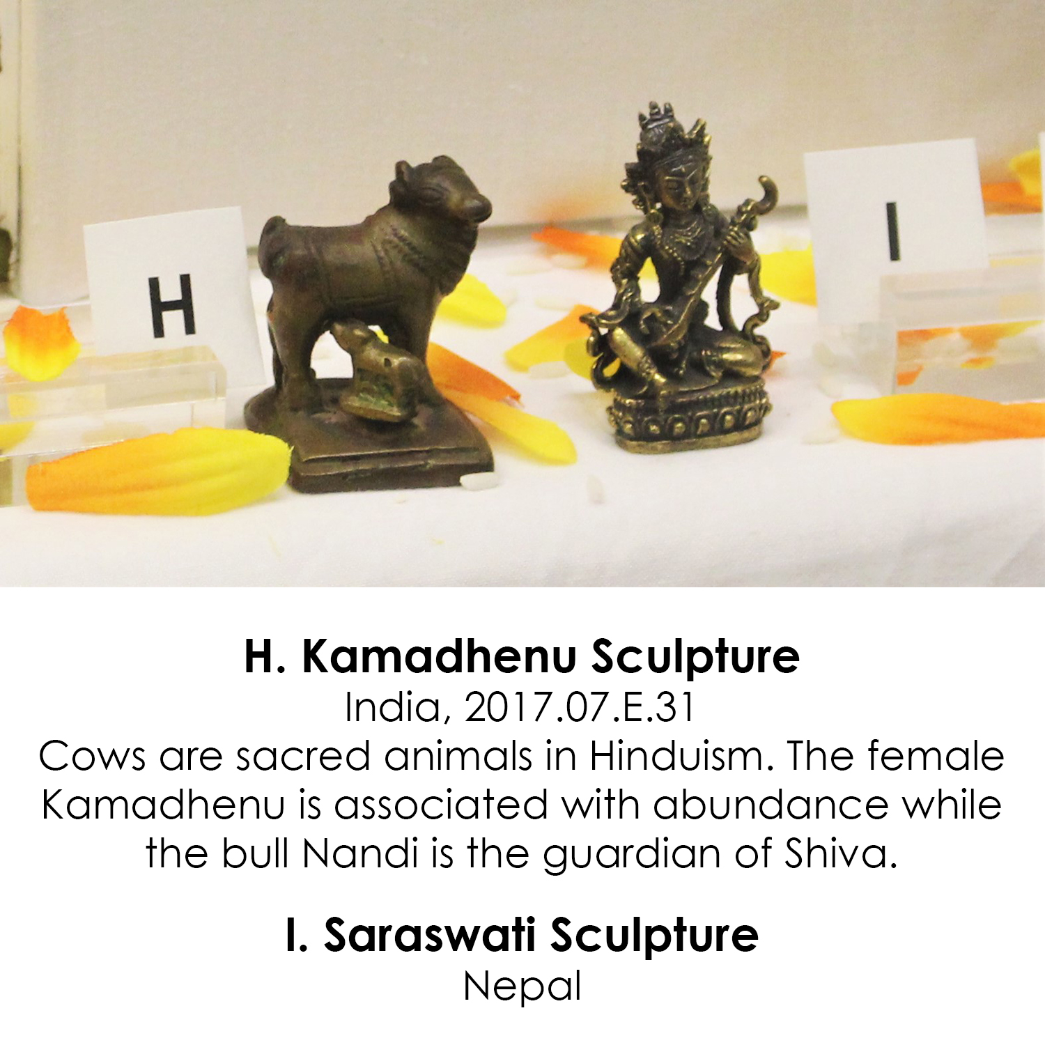 Kamadhenu sculpture and Saraswati sculpture from India