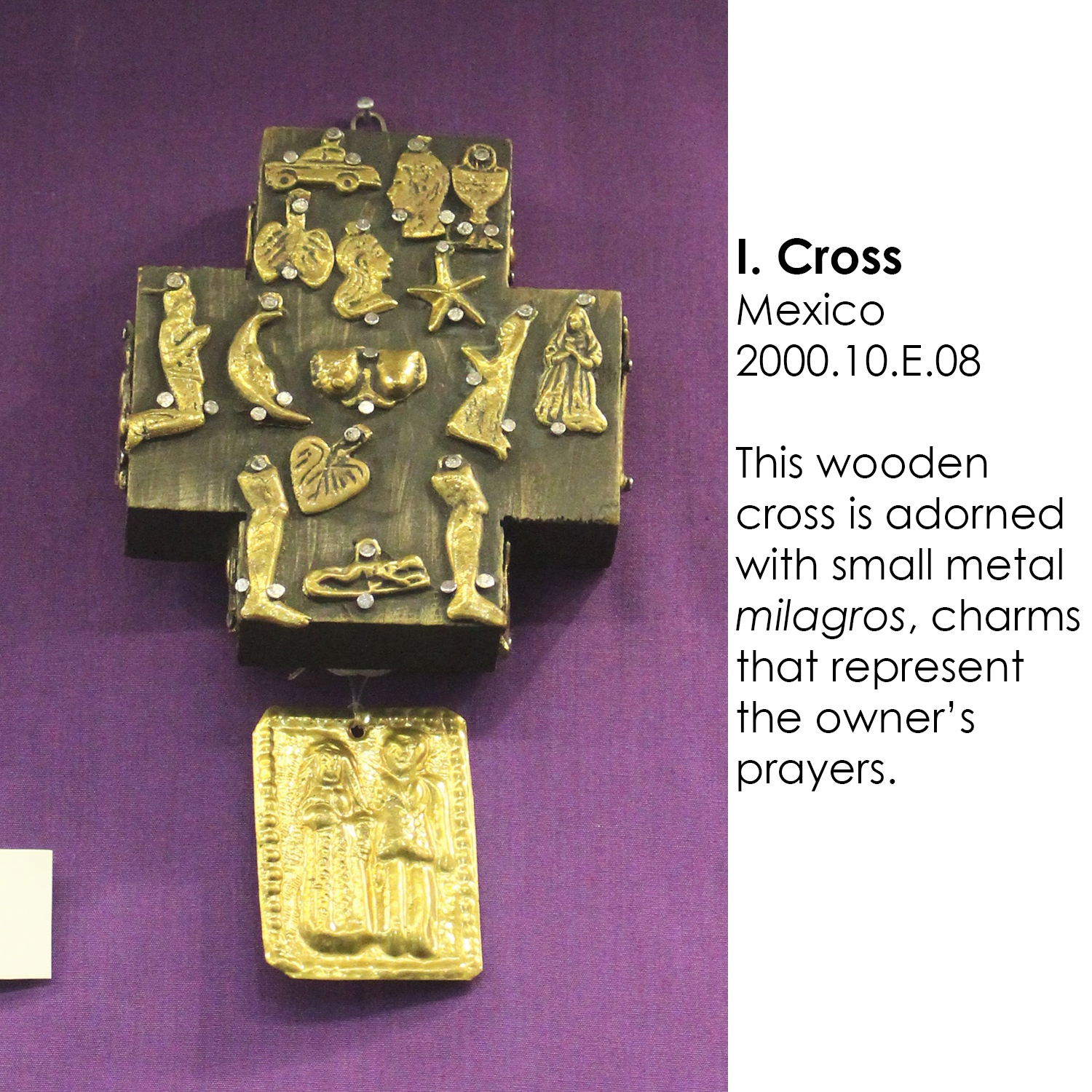 Mexican cross with milagros