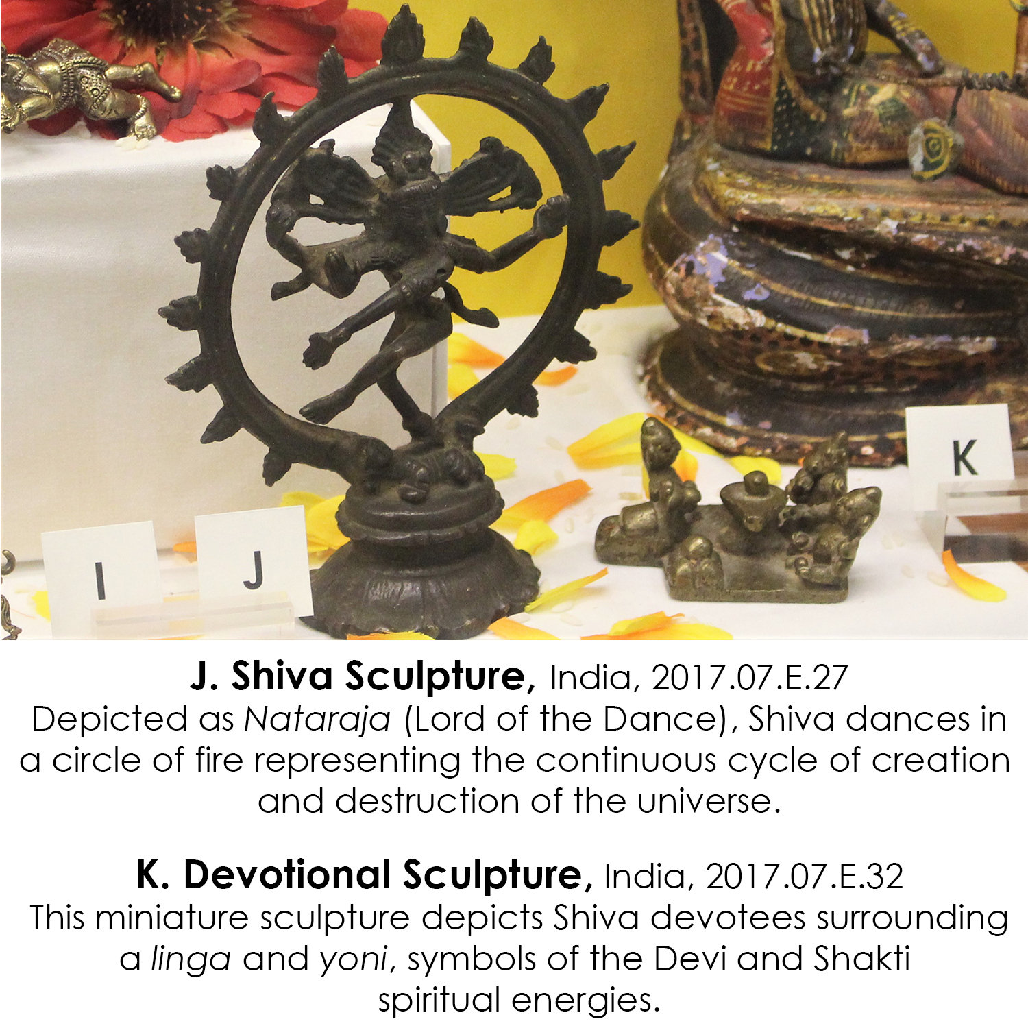 Shiva sculpture and miniature devotional sculpture from India