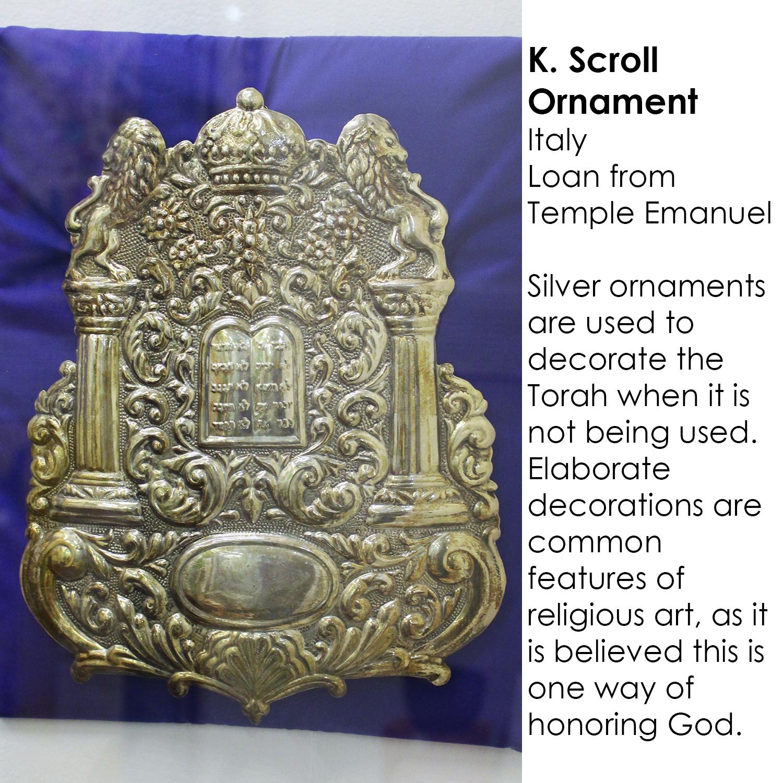 Silver Torah scroll ornament