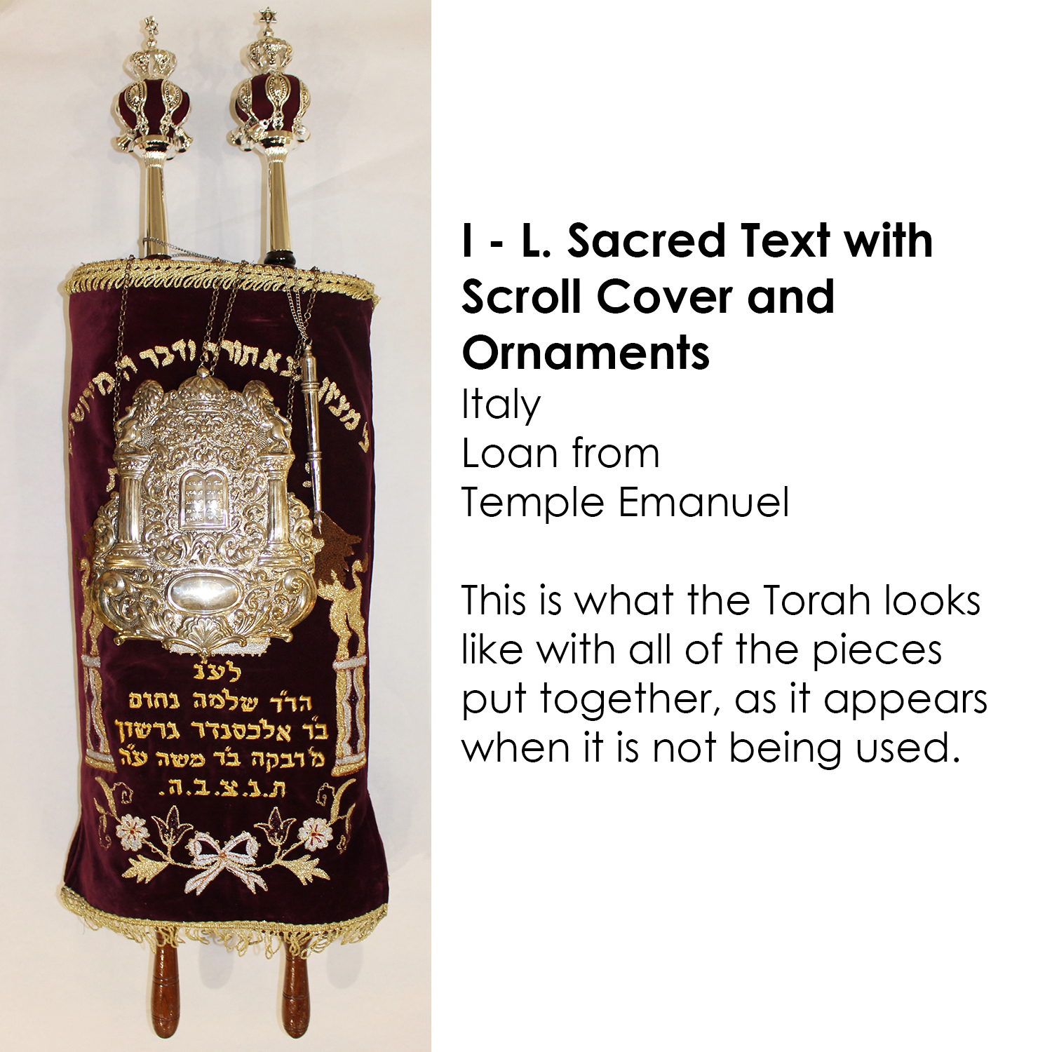 Torah scroll with cover and ornaments