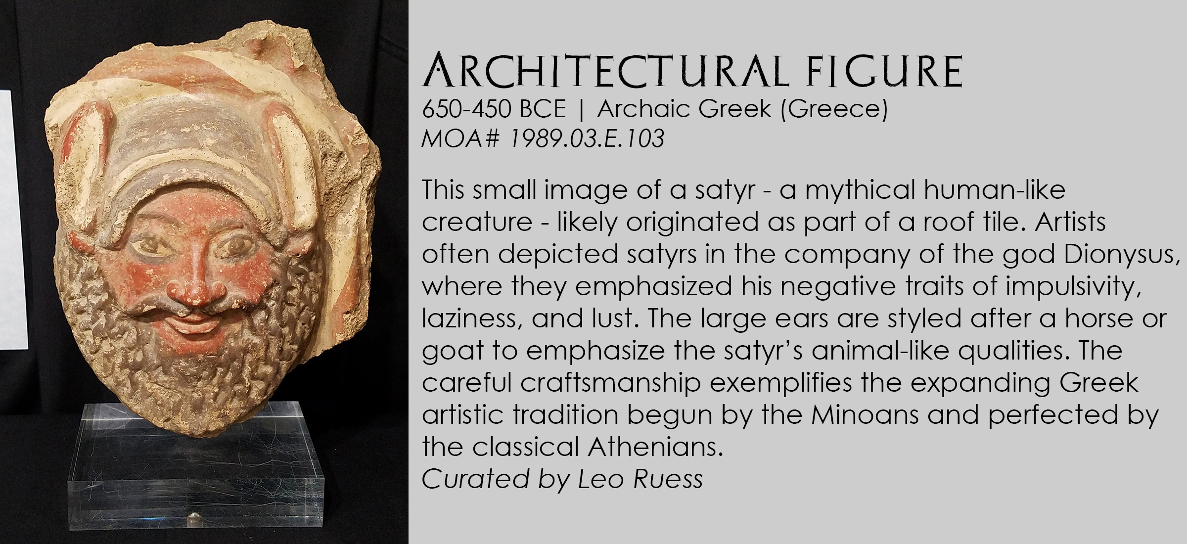 Architectural figure of a satyr from archaic Greece