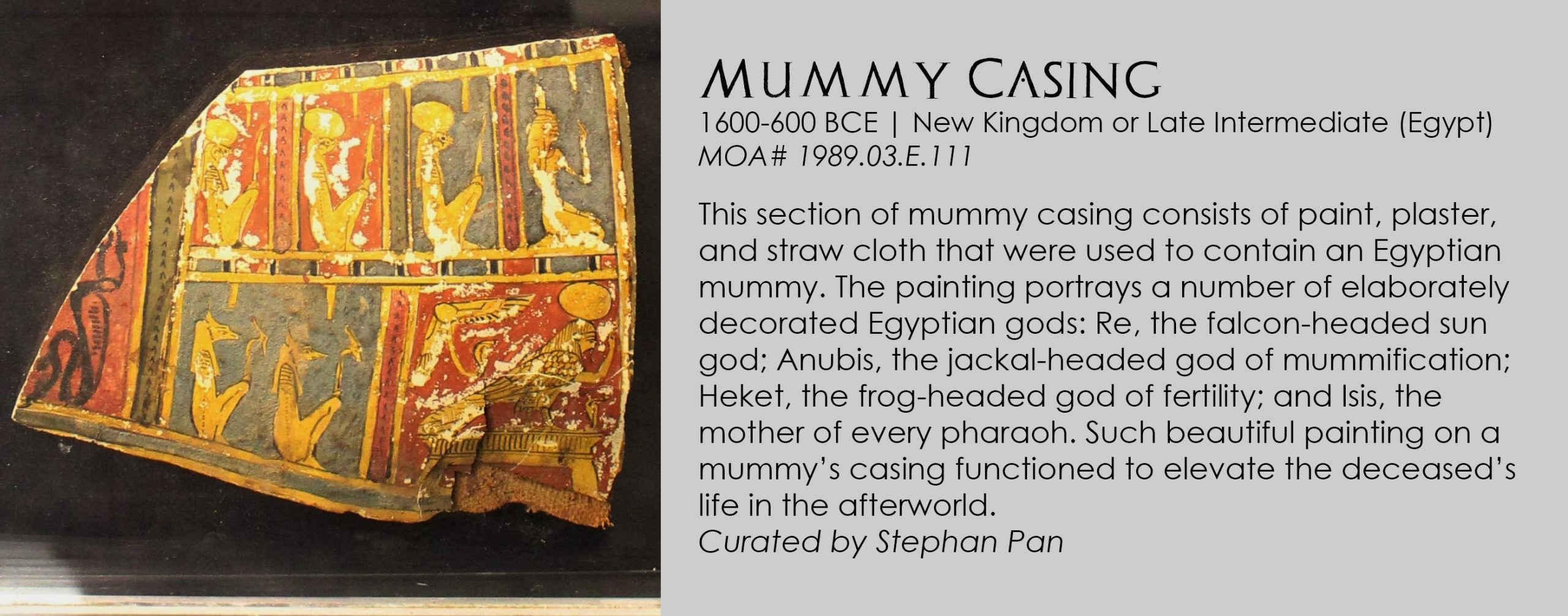 Egyptian mummy casing