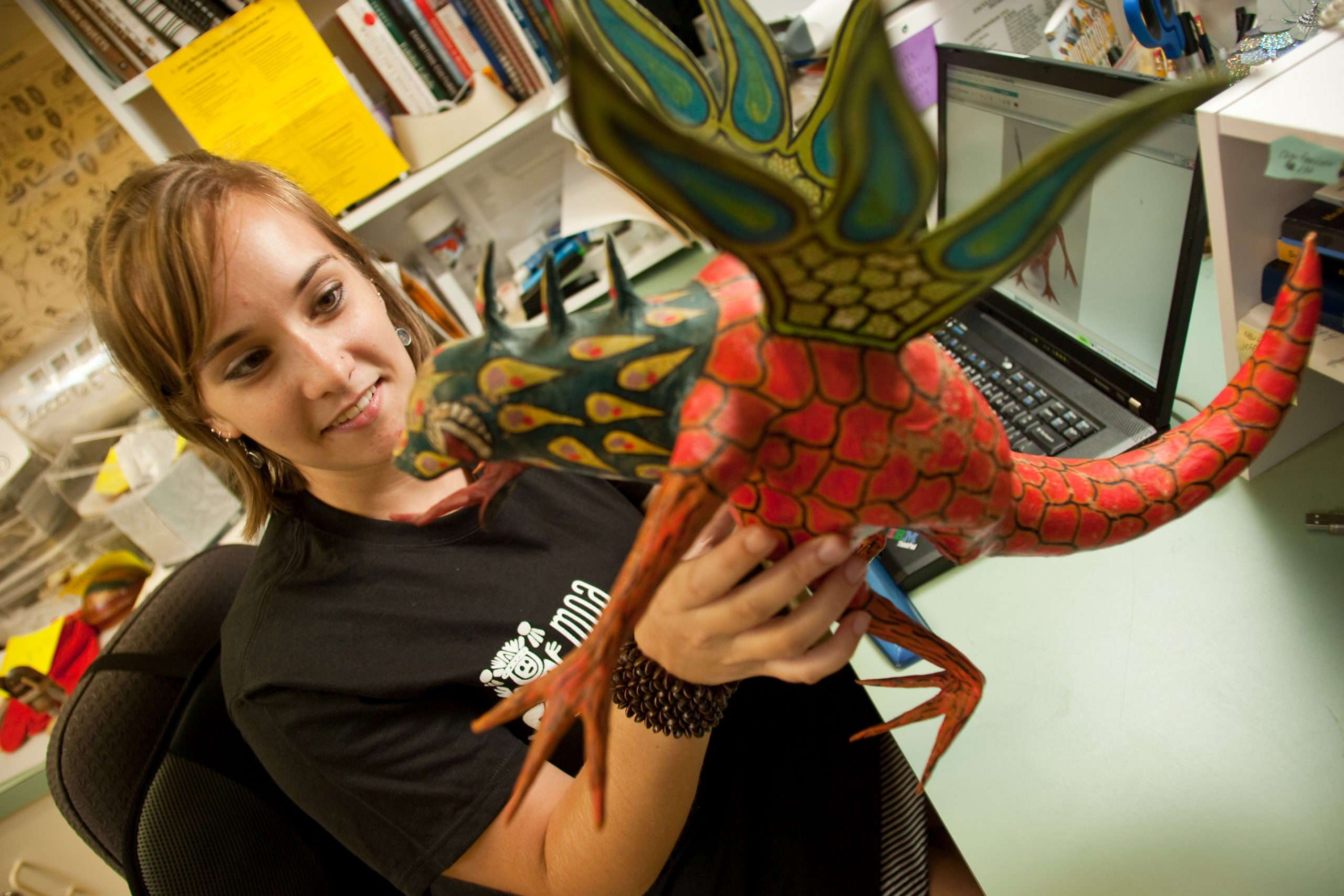 WFu student handles MOA objects
